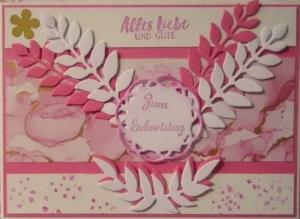 Selbstgestaltete Karte, ein Traum in weiß und rosa - Handarbeit kaufen