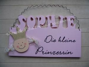 Süßes Türschild aus Holz ♥ Kleine Prinzessin ♥ kleiner Prinz ♥ mit dem Namen Ihres Kindes