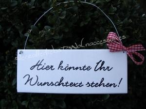 Türschild mit Wunschtext ♥ Türschild aus Holz ♥ weiß - Handarbeit kaufen