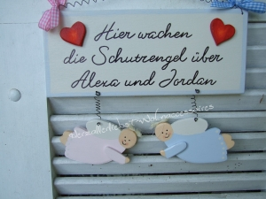 Süßes Türschild mit Schutzengeln und den Namen Ihrer Kinder
