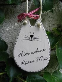 Hier wohnt Katze ... ♥ Süßes Türschild aus Holz