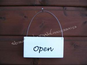 Open/Closed ♡ Wechselschild   ♡ Türschild aus Holz ♡ weiß mit schwarzer Schrift ♡