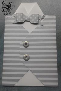 Glückwunschkarte zum Geburtstag Hemd mit Weste Grau-Weiß
