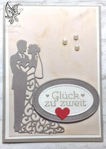 Glückwunschkarte zur Hochzeit mit Brautpaar Taupe - Weiß