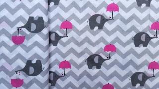Baumwollstoff, Elefant mit Schirm, Öko-Tex Standard 100, reine Baumwolle