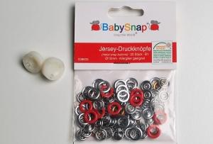 20 Jersey Druckknöpfe von BabySnap, nickelfrei, nähfreie Druckknöpfe, Metalldruckknöpfe rot, Ø 10 mm