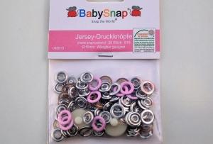 20 Jersey Druckknöpfe von BabySnap, nickelfrei, nähfreie Druckknöpfe, Metalldruckknöpfe rosé, Ø 10 mm