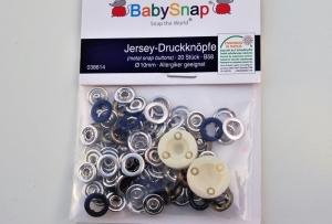 20 Jersey Druckknöpfe von BabySnap, nickelfrei, nähfreie Druckknöpfe, Metalldruckknöpfe dunkelblau, Ø 10 mm