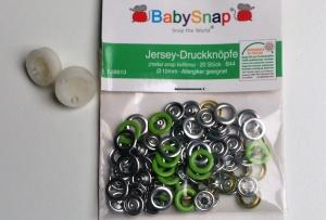 20 Jersey Druckknöpfe von BabySnap, nickelfrei, nähfreie Druckknöpfe, Metalldruckknöpfe grün, Ø 10 mm