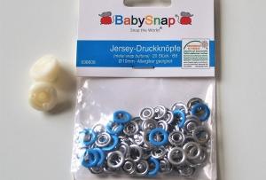 20 Jersey Druckknöpfe von BabySnap, nickelfrei, nähfreie Druckknöpfe, Metalldruckknöpfe türkis, Ø 10 mm