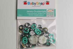 20 Jersey Druckknöpfe von BabySnap, nickelfrei, nähfreie Druckknöpfe, Metalldruckknöpfe mint, Ø 10 mm