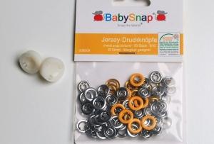 20 Jersey Druckknöpfe von BabySnap, nickelfrei, nähfreie Druckknöpfe, Metalldruckknöpfe gelb, Ø 10 mm