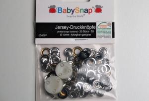 20 Jersey Druckknöpfe von BabySnap, nickelfrei, nähfreie Druckknöpfe, Metalldruckknöpfe schwarz, Ø 10 mm