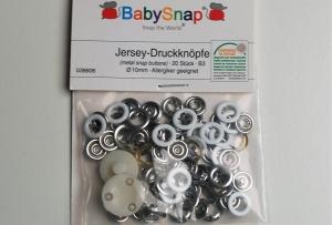20 Jersey Druckknöpfe von BabySnap, nickelfrei, nähfreie Druckknöpfe, Metalldruckknöpfe weiß, Ø 10 mm