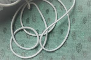 Elastikkordel, Gummikordel, Gummiband, elastische Kordel, 2 mm, weiß