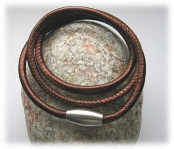 Nappaleder-Wickelarmband, dreifach, braun-metallic