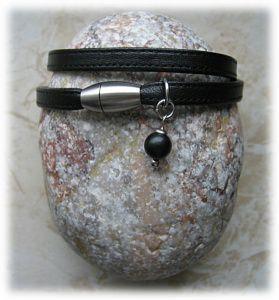 Nappaleder-Armband, zweifach mit Onyx-Perle, schwarz