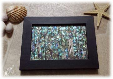 Abalone Paua Muschel (See-Opal) Bild - schwarzer Rahmen - Handarbeit kaufen