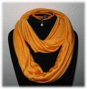 Set - Seidenschlauchschal + Nappalederarmband - Orange