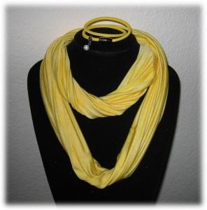Set - Seidenschlauchschal + Nappalederarmband - Gelb