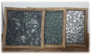 3er Set Metallbilder in Treibholzrahmen - Vinted/ Shabby