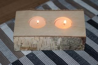 2er Teelichthalter aus einen Birkenstamm ♥ Ideal auch als Tischdeko ♥ Hochzeitdeko ♥ Weihnachtsdeko
