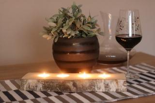 4er Teelichthalter  aus einen Birkenstamm ♥ Ideal auch als Tischdeko ♥ Hochzeitdeko ♥ Weihnachtsdeko