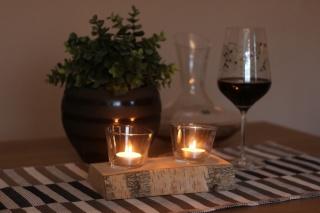 2er Teelichthalter mit Teelichtglas  aus einen Birkenstamm ♥ Ideal auch als Tischdeko ♥ Hochzeitdeko ♥ Weihnachtsdeko