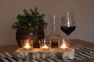 3er Teelichthalter mit Teelichtglas aus einen Birkenstamm ♥ Ideal auch als Tischdeko ♥ Hochzeitdeko ♥ Weihnachtsdeko
