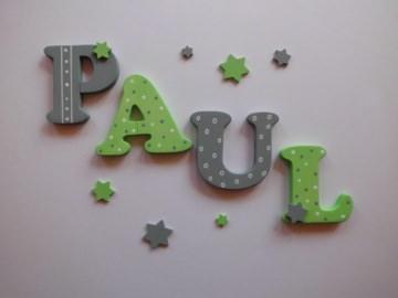 Holzbuchstaben in hellgrün / grau ♥ Beispiel: PAUL