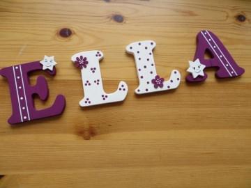 Holzbuchstaben in lilla / weiß ♥ Beispiel: ELLA