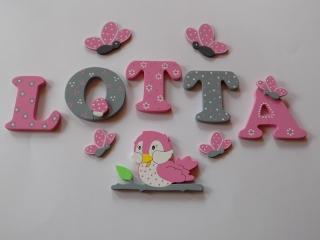 Holzbuchstaben in rosa / grau ♥ Beispiel: LOTTA