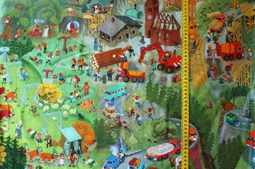 Jersey Wimmelbuch In den Bergen von Ali Mitgutsch, ein super Stoff für Kindersachen