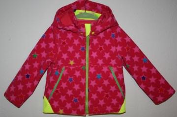 KIndersoftshelljacke Sternchen, pinkfarbig mit bunten Sternchen Gr. 104