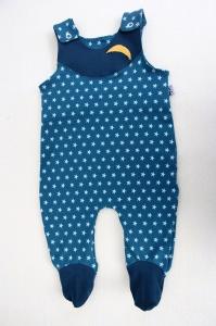 Niedlicher Babystrampler mit Sternchen bedruckt,  weiße Sternchen auf blauem Grund, Gr. 62