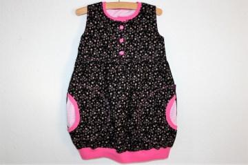 Süßes Ballonkleidchen Babykord schwarzgrundig mit rosa Muster, Gr. 92, ein Kleidchen zum Fest