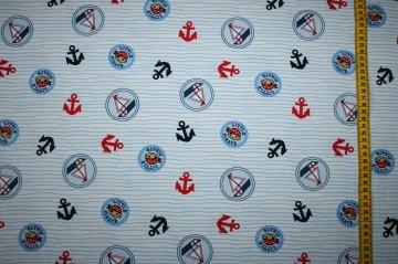 Schöner Jersey mit martimen Motiven auf weißen Grund, 0,5m