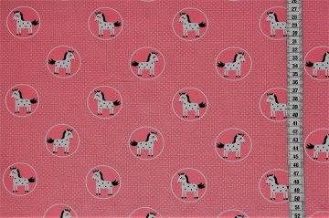 Jersey niedliche Einhörner im Kreis auf rosa Grund mit winzigen grauen Punkten