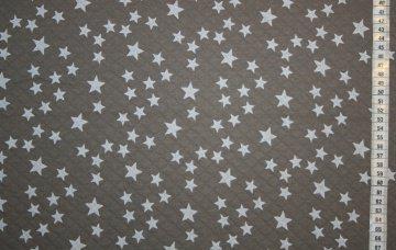 Steppstoff Stars, taupe mit weißen Sternen bedruckt, von Lillestoff