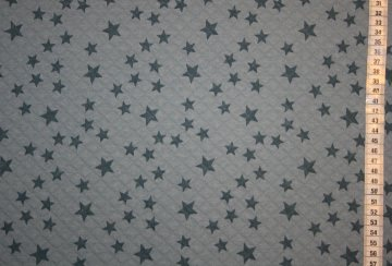 Steppstoff Stars, taubenblau mit rauchblauen Sternen bedruckt, von Lillestoff