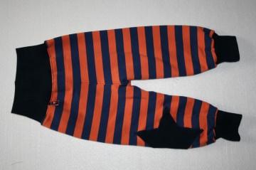 Pumphose Blockstreifen orange/dunkelblau Gr. 74 oder 80