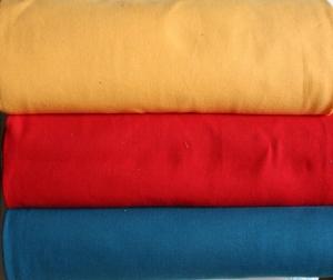 Bündchenstoff , Schlauware, 0,50m, 3 verschiedene Farben rot, gelb, petrol