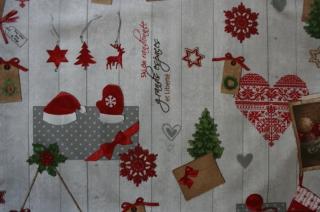 Sehr schöne Weihnachtstischdecke , Hüttengaudi, weihnachtlicher Druck auf hellgrauem Grund, 1,80m x 1,30m