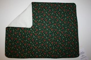 Weihnachtsset Sternchen, dunkelgrüngrundig, 44cm x 34cm groß, wattiert