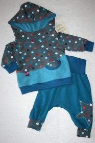 Niedliches Babyset Dots, Gr. 62, bunte Punkte auf grauem Grund, 2-teilig