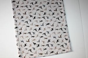 Tischläufer Hirsche, mit eingewebten Hirschmuster auf naturfarbenen Grund, Größe 132 x 42 cm