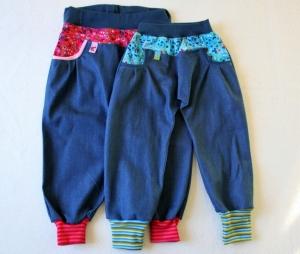 Süße Mädchen Mitwachshosen, 2 verschiedene Modelle, Jeans mit pink-,  oder Jeans mit türkisgeblümten Cordeinsätzen,