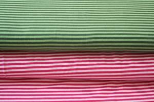Jersey, Basic Streifen, rosa/pink oder hell-/dunkeloliv, hochwertiger Bio-Jersey, 0,50m