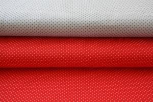 Jersey, Basic kleine Punkte, rot mit weißen Punkten, hellgrau mit dunkelgrauen Punkten, hochwertiger Jersey, 0,50m