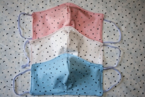 Behelfs-Mund-Nasen-Schutz , 3er Set, Retrodots, Zacken, Blätter, rosarot, doppelagig, mit Gummibändern, Damengröße